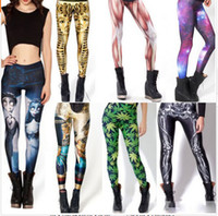 Wholesale 2015 Halloween Corpse Bride Black Milk Galaxy Printed Leggings for Women Fashion Muscle Skull Sexy Leggings Work Out Leggings Gold Leggings