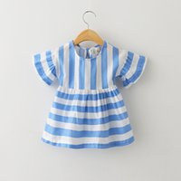 kids dress - 2015summer new children cotton dress girls short sleeve party dress kids Striped round collar dress bow hollow out dress kidsclothingZAO505