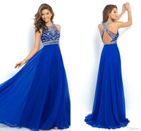 Sweetheart cross beads - Cheap Ready To Ship New Crystal Beads Backless Prom Dresses Long Crew Sleeveless Chiffon Evening Dresses Evening Gowns Party Dress Hot