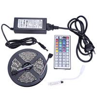 al por mayor fuente de alimentación de 12v para leds-Tira de LED de DHL SMD 3528 RGB No-impermeable luz de la lámpara 60 LED / M SMD 3528 llevó tiras + IR Remote Controller + Adaptador de fuente de alimentación de 12V 2A