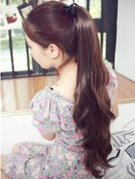 Wholesale long curly body wave Ponytails synthetic hair Ponytail colors Ribbons Ponytails for lady