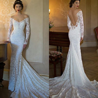 Cheap Vintage Long Sleeves Lace Berta Wedding Dresses 2015 Mermaid Off the Shoulder Beaded Backless Court Train Church Bridal Gowns Deep Backlees