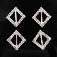 diamante buckles - Hot sell Square Wedding Invitatin Bling Diamante Ribbon Slider Buckle mm Bar mm
