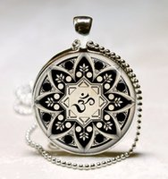 Wholesale Yoga Jewelry Om Necklace Om Symbol Buddhism Zen Meditation Mandala Art Pendant With Ball Chain