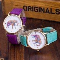 Wholesale 1000pcs hot women elephant design flower printing ladies leather PU wrist watch fashion dress quartz watches