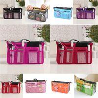 Wholesale 2016 HOT Women Cosmetic Bag Organizer Bag In Bag Double Zipper Portable Multifunctional Travel Pockets Handbag Storage Makeup bags