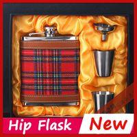 alcohol business - Business Gifts Leather oz Hip Flask Drinkware Whiskey Liquor Metal Flask Alcohol Flask Flagon marmita wiskey Garrafa De Bolso