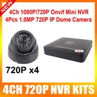 Wholesale 4CH P NVR kit HD realtime Security Camera System with Indoor Night Vision ir led mini dome ip camera onvif p2p