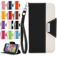 Wholesale Samsung S5 Case PU Leather Wallet Card Slot with Hand String Folding Folio Flip Stand Cover Cases Skin For Samsung Galaxy S5 I9600