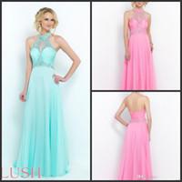 azalea white - 2015 High Neck Floor Length Crystals Beads Chiffon Prom Dresses Party Evening Gowns Aquamarine Azalea Powder Blue