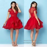 semi formal dress - 2016 Christmas Puffy Red Homecoming Short Dress for Party Lace Semi Formal Cocktail Dresses Deep V Neck Appliques S046