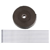 """Cheap Titanium Thermal Exhaust Header Pipe Tape Heat Insulating Wrap Puce 1""""x50' Roll With Durable Ties Kit"""