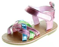 baby rainbow sandals - Hot rainbow japanned pink leather baby girl sandals home toddler shoes first walkers freeshipping