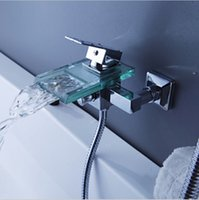 Wholesale Contemporary Tub Faucet with Glass waterfall Spout Wall Mount C3218