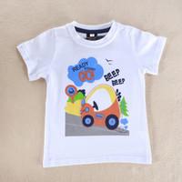 Cheap Wholesale-2-5T 2015 summer fashion Baby Boys' Short Sleeve cartoon Toddler O Neck Top Screen-printed Cotton cute tee shirts