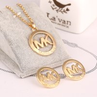 big gold earrings hip hop - Brand jewelry hip hop style Black letterRound big Brand Letter Pendants box Chain Necklace Earrings michalled Jewelry Sets