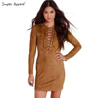 apparel lining fabric - Simplee Apparel autumn faux leather suede fabric fall dress Long sleeve v neck lace up women dresses Sexy bodycon dress vestidos