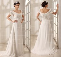Wholesale 2016 Elegant Wedding Dresses Ruched Crystals Beaded Scoop A line Chiffon Wedding Dresses High Quality Wedding Gowns GD