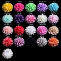 Wholesale 5 quot cm common camellia rose flower Hair Accessories hair clips Satin silk chiffon flowers hair clip Brooch without clip