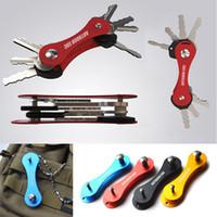 Wholesale 2015 New Arrival EDC Aluminum Key Organizer Holder Folder Key Chain Clip Pocket flexible Tools Black Red Golden Blue colors