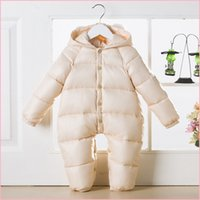 baby thermal wear - Newborn snowsuit new boys girls thickening outfits baby one piece coveralls white duck down winter thermal snow wear