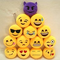 Wholesale Key Chains cm Emoji Smiley Small pendant Emotion Yellow QQ Expression Stuffed Plush doll toy Emoji Cell Straps Charms Bag Pendant gift