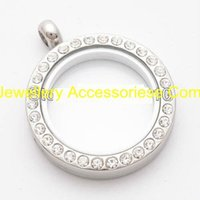wholesale lockets - 5PCS mm Silver crystal rhinestone Round magnetic glass floating charm locket Zinc Alloy Rhinestone chains included for free
