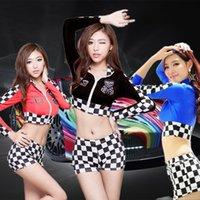 achat en gros de costume cheerleader-(1set) Robe sexy de costume de course de voiture de fille de course de reine de vitesse de femmes + costume sexy de joueur de base-ball de joueur de base-ball de sports X127