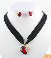 Wholesale Hot Sale Retro Ribbon Choker Flannel Necklace Earring Ruby Crystal Woman Wedding Party Gift Jewelry Set