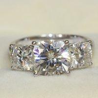 Band Rings 14k gold rings - 013 LUXRUY CHARLES COLVARD Brand Cushion Cut Stone Moissanite Wedding Engagement Anniversary Ring Genuine k White Gold