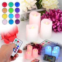 Wholesale 3 Set Wax Wireless Remote Control Color Changed LED Candle Flameless Candles