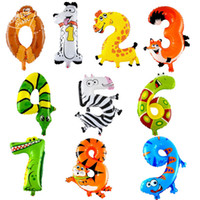 Wholesale 20PCS inch colorful animal number Helium Aluminum Foil Balloon christmas wedding birthday Holidays Party Supply Decoration Supplies
