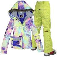 Wholesale new Combination women s ski suit best quality Colorful windproof warm ski jacket pants winter warm ski wear