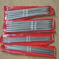 al por mayor agujas de tejer de acero-Al por mayor-2014 Nuevo 11 * 5 PCS 11 tamaños 20cm Doble Punto de acero inoxidable rectas agujas de tejer suéter agujas de tejer 5 sets 2-6.5mm