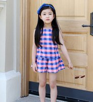 Wholesale Kids clothes Girls sets summer children s clothing grid two piece children casual sleeveless vest shorts two suits new