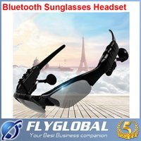 Wholesale Sun Glasses Bluetooth Headset Sunglasses Stereo Bluetooth Headphone Wireless Handsfree Black for iphone s Samsung Galaxy S5 S4 ipad