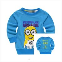 Wholesale 2015 New despicable me cartoon girls boys blue pullover kids warm sweater clothing despicable me printed cotton terry long sleeved sweater