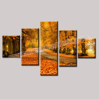 Wholesale Unframed Modern Wall Decor Pictures Yellow Trees Painting Canvas Art Piece Canvas Wall Art Photo Printing on Canvas for Sale