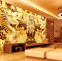 art woodcuts - 3D Golden Dragons Photo Wallpaper Woodcut Wall mural Chinese style wallpaper Art Room decor Kids Sofa background wall Restaurant Decoration
