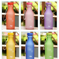 Wholesale Colors Frosted Leak proof Plastic Cup ML Unbreakable Portable Sports Soda Water Bottle BPA FREE Travel Eco Friendly Drink bottles