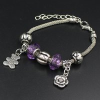 bear claw jewelry - Fashion Jewelry PDR Charms European Beaded Purple Bead Cute Bear Love Rose Charm Bracelets for Mother s Day Gift Jewelry