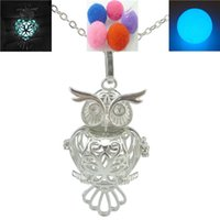 aromatherapy box - Copper Dull Silver Plated Animal Bird Cute Owl Locket Box Necklace Aromatherapy Essential Oil Perfume Fragrance Diffuser