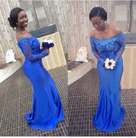 bella bridesmaid dress - Latest Ankara Aso Ebi style Blue Lace Mermaid Evening Dresses Nigerian Bridesmaid Dresses Off Shoulder Long sleeves bella naija Party Gowns