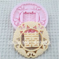 cake candle - M Chinese Tradition Double Happiness Handmade Soap Mould Cake Candle Candy Fondant Molds Cake Decoration