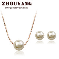 Wholesale ZYS358 OL Lady Style Imitation Pearl K Rose Gold Plated Jewelry Necklace Earring Set Rhinestone Made with Austrian Crystals
