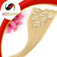 Wholesale XCSUNNY Clip In Thick Human Hair Extensions Indian Remy Clip In Hair Extensions Silky Straight Grade B g set