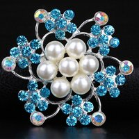 Wholesale Brooches For Wedding Bijoux Wedding Broches Fashion Vintage Women Rhinestone Brooch Pearl Crystal Flowers Silver Brooches Pins