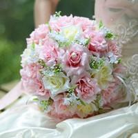 christmas ribbon - Wedding Bridal Bouque Christmas Silk Cloth Ribbon Flowers Wedding Bridesmaid Bouquets Party
