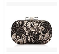 Wholesale Sexy Wedding Party Minaudiere Bridal Clutch Purse with Metal Chain Hand Bags with Rhinestone Lace Evening Bags
