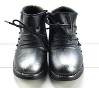 Wholesale pair Winter new arrived Children s leather shoes Baby girls warm cotton boots Two colors black red Size
